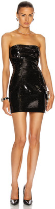 Balmain Short Sequined Bustier Dress in Noir | FWRD