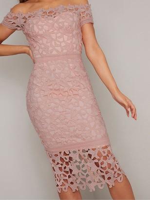 Chi Chi London VictoireBardot Lace Midi Dress - Pink