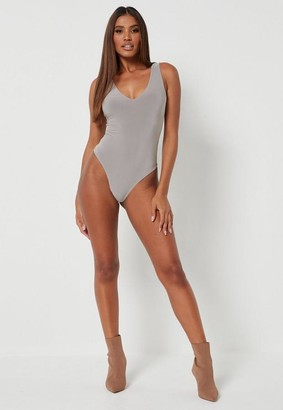 Missguided Petite Silver Seamless V Neck Bodysuit