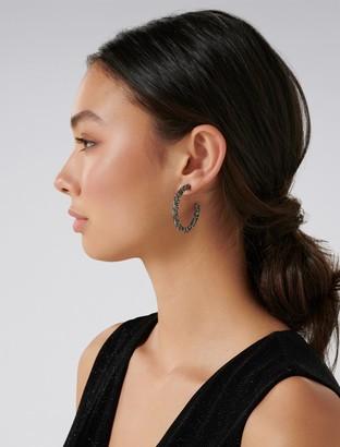 Forever New Dixie Facet Stone Hoop Earrings - Gunmetal - 00