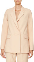 Carven Double-Breasted Oversized Crepe Jacket, Beige