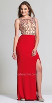 Dave and Johnny Geometric V-Shape Open Back Rhinestone Prom Dress