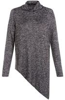 New Look Dark Grey Fine Knit Cowl Neck Asymmetric Top