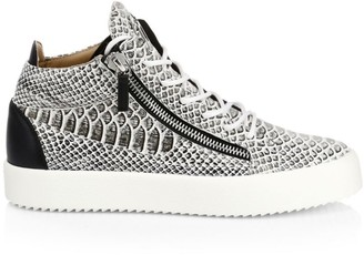 Giuseppe Zanotti Embossed Leather Zip Ankle Sneakers