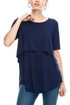 B-Sharp Collection Women's Solid Layered Top Short Sleeve Shirts Round Neck Tanboocel Bamboo Top Tunic.