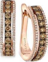 LeVian Le Vian Chocolate and White Diamond Hoop Earrings in 14k Rose Gold (9/10 ct. t.w.)