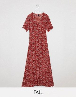 Y.A.S Tall Jelica short sleeve floral print maxi dress
