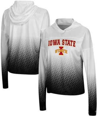 Colosseum Women's White/Black Iowa State Cyclones Magic Ombre Hoodie Long Sleeve T-Shirt