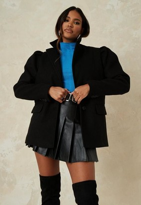 Missguided Black Puff Sleeve Formal Coat