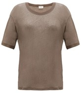 Saint Laurent Round-neck Cotton-jersey T-shirt - Womens - Khaki