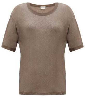 Saint Laurent Round-neck Cotton-jersey T-shirt - Khaki