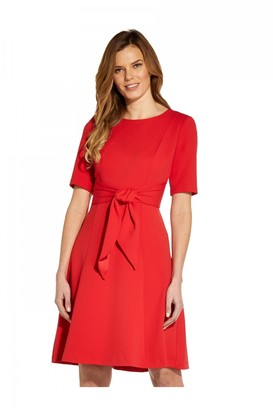 Adrianna Papell Crepe Tie Front Fit And Flare Dress