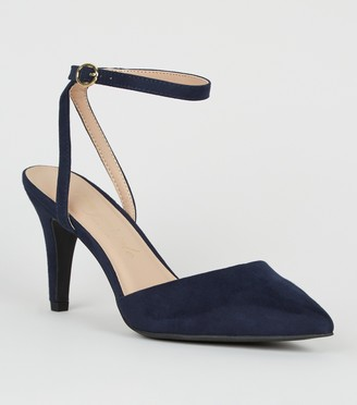 New Look Wide Fit Suedette Pointed Court Shoes