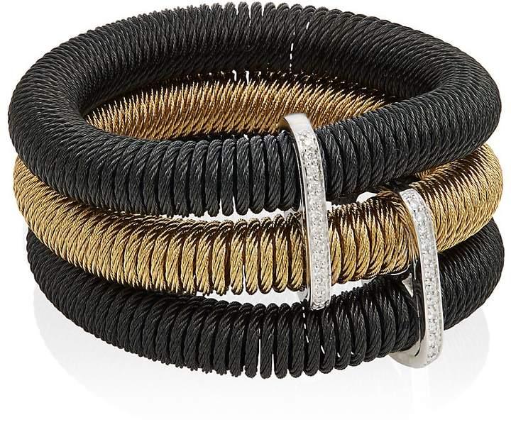 Alor Women's Diamond, 18K Yellow Gold & Black Stainless Steel Stack Coil Bracelet