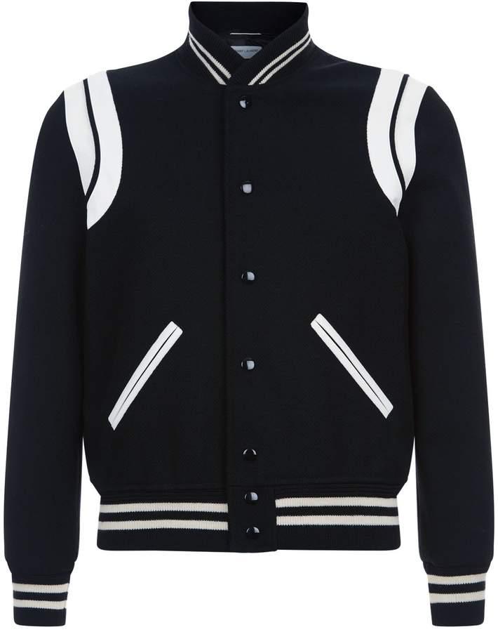 Saint Laurent Leather Trim Bomber Jacket