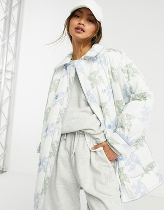 And other stories & printed quilted jacket in off white