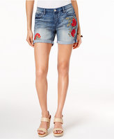 Vintage America Colette Floral-Embroidered Denim Shorts