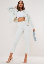 Missguided Light Blue Wash Co Ord Wrath Raw Hem Highwaisted Straight Jeans