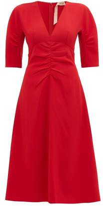 No.21 No. 21 - V-neck Ruched Crepe Dress - Womens - Red