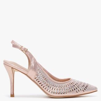 Menbur Anzu Rose Gold Metallic Embellished Sling Back Court Shoes