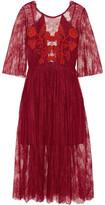 Sandro Shangai Open-Back Embroidered Corded Lace Midi Dress