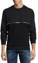 Diesel Zipper-Detail Mixed-Knit Sweatshirt, Black