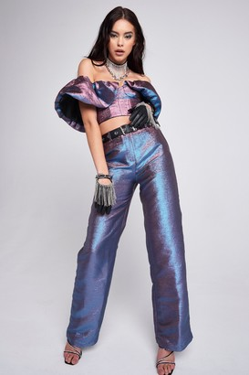 Jaded London Womens **Blue And Purple Two Tone Wide Leg Trousers By Multi