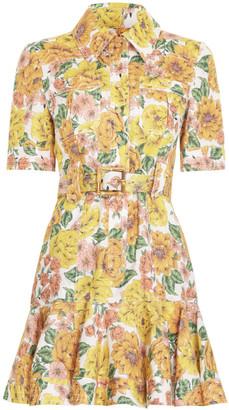Zimmermann Poppy Belted Linen Mini Dress