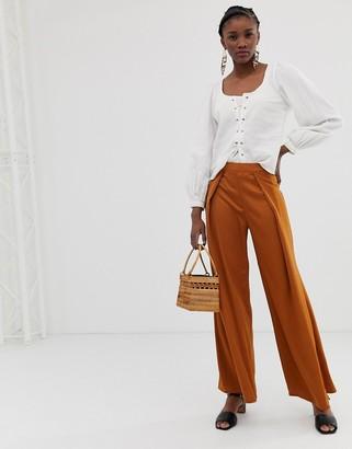 Glamorous wide leg trousers in satin-Brown