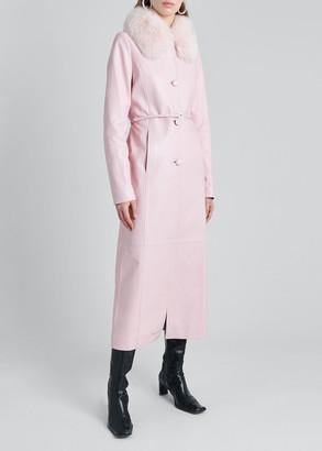 Saks Potts Charlot Lamb Leather Coat with Fox Fur Trim
