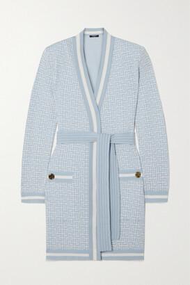 Balmain - Belted Merino Wool-blend Jacquard Cardigan - Blue