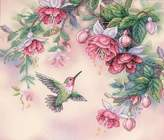 Dimensions Needlecrafts Stamped Cross Stitch, Hummingbird Fuchsias