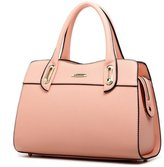 Bagtopia Women's Fashion Elegant Leather Top-handle Handbags Office Lady Tote Purse with Shoulder Strap(Pink)