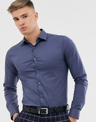 Tiger of Sweden Filbrodie cotton blend extra slim fit shirt-Purple