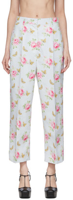 Prada Blue and Multicolor Silk Flowers Trousers