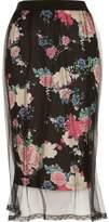River Island Womens Black floral mesh midi skirt
