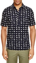 3x1 Fish Print Regular Fit Popover Shirt