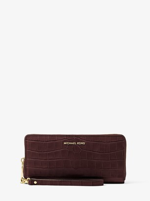 MICHAEL Michael Kors Travel Crocodile-Embossed-Leather Continental Wristlet