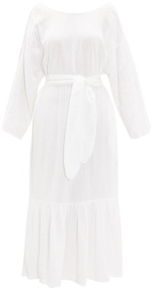 Mara Hoffman Augusta Ruffle-hem Belted Cotton Dress - Womens - White
