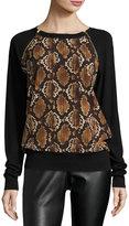 MICHAEL Michael Kors Snake-Print Pullover Sweater, Caramel