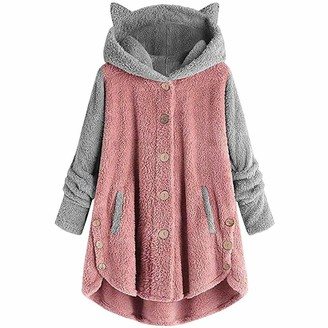 KBUY Warm Fleece Blanket Hoodies Women Cat Ear Hooded Jumper Teddy Bear Fuzzy Hoodie Dress Winter Fluffy Hooded Sweatshirts Girls Ladies Sherpa Pullover Oversized Hoodie Plush Top Coat Plus Size Pink