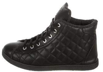 Chanel CC Quilted Leather Sneakers