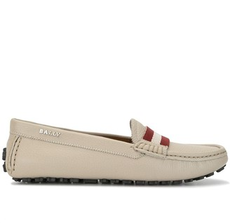 Bally Striped Slip On Loafers