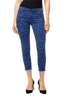J Brand Mid Rise Crop Skinny Jean With Jaguar Print