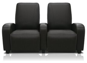 Bass Milan Leather Home Theater Lounger (Row of 2 Type: Motorized, Frame Finish: Beech, Cupholders: Chrome cup holders