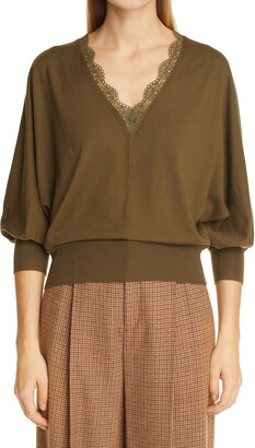 Chloé Scalloped Lace V-Neck Wool Sweater