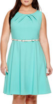Alyx Sleeveless Belted Stretch Fit-and-Flare Dress - Plus