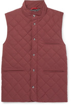 Isaia Quilted Wool-blend Gilet - Burgundy