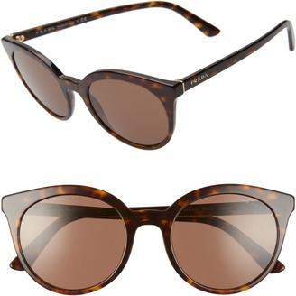 Prada 53mm Round Cat Eye Sunglasses