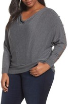 Sejour Plus Size Women's Button Sleeve Sweater